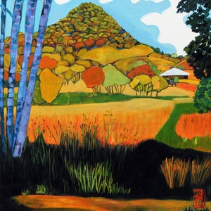(CreativeWork) Summer Cooroy Mountain by Dale Leach. arcylic-painting. Shop online at Bluethumb.