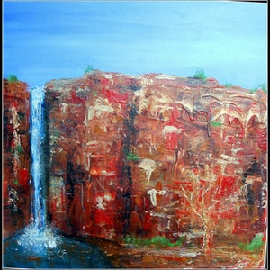 "(CreativeWork) ""Kimberley Waterfalls 2"" by linda bartlett. mixed-media. Shop online at Bluethumb."