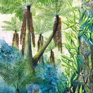 (CreativeWork) Russell Falls Tree Ferns 2 by Donna Maloney. watercolour. Shop online at Bluethumb.