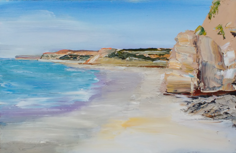 (CreativeWork) Port Willunga Study by Roland Weight. oil-painting. Shop online at Bluethumb.