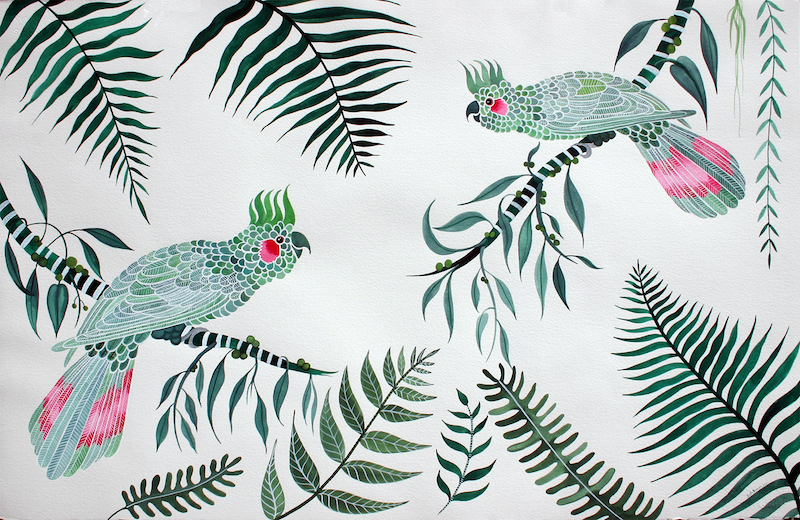 (CreativeWork) Green Cockatoo Rainforest by Sally Browne. other-media. Shop online at Bluethumb.