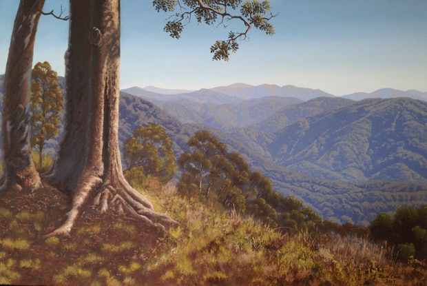 (CreativeWork) View from Camp Mountain QLD by Julie Cane. Oil. Shop online at Bluethumb.