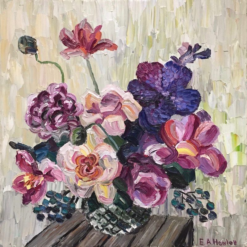 (CreativeWork) Winter Blooms  by Elisabeth Howlett. oil-painting. Shop online at Bluethumb.