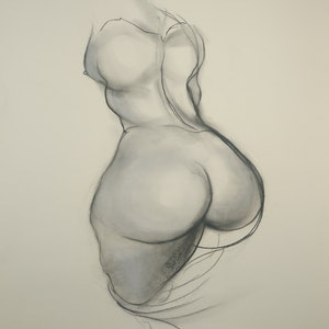 (CreativeWork) Female Figure Study (Brett Whiteley Studio) by Yehoshua Viles. drawing. Shop online at Bluethumb.