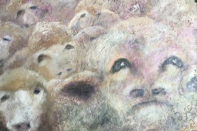 (CreativeWork) Anthropomorphic sheep (framed ready to hang w 83.4x h  66cm) available in print . by christine forbes. oil-painting. Shop online at Bluethumb.