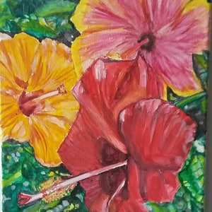 (CreativeWork) Hibiscus  Flower Bloom Zoom! by NavaneethaKrishnan (NK) Sundarrajan. arcylic-painting. Shop online at Bluethumb.