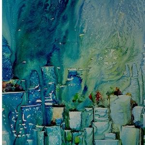 (CreativeWork) Skyscape by Helen Miles. watercolour. Shop online at Bluethumb.
