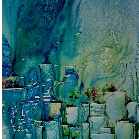 (CreativeWork) Skyscape by Helen Miles. Watercolour Paint. Shop online at Bluethumb.