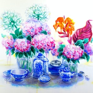 (CreativeWork) Offer price $750  - Hydrangea Tea Time - from now  till 01/03/19. Was $980. by Olga Kolesnik. arcylic-painting. Shop online at Bluethumb.