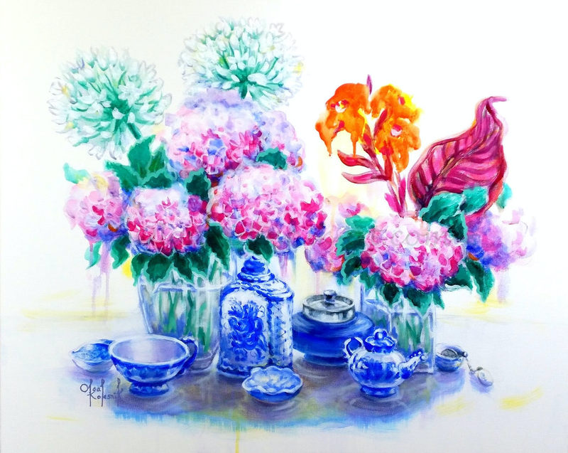 (CreativeWork) Hydrangea Tea Time  by Olga Kolesnik. arcylic-painting. Shop online at Bluethumb.