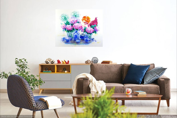 (CreativeWork) Hydrangea Tea Time  by Olga Kolesnik. #<Filter:0x00005597d8c1efd8>. Shop online at Bluethumb.