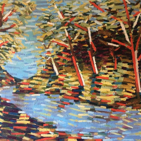 (CreativeWork) Autumn Riverbank by D.M. Ross. Oil Paint. Shop online at Bluethumb.