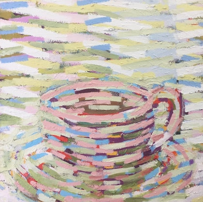 (CreativeWork) Cup in Pink by D.M. (David Martin) Ross. oil-painting. Shop online at Bluethumb.