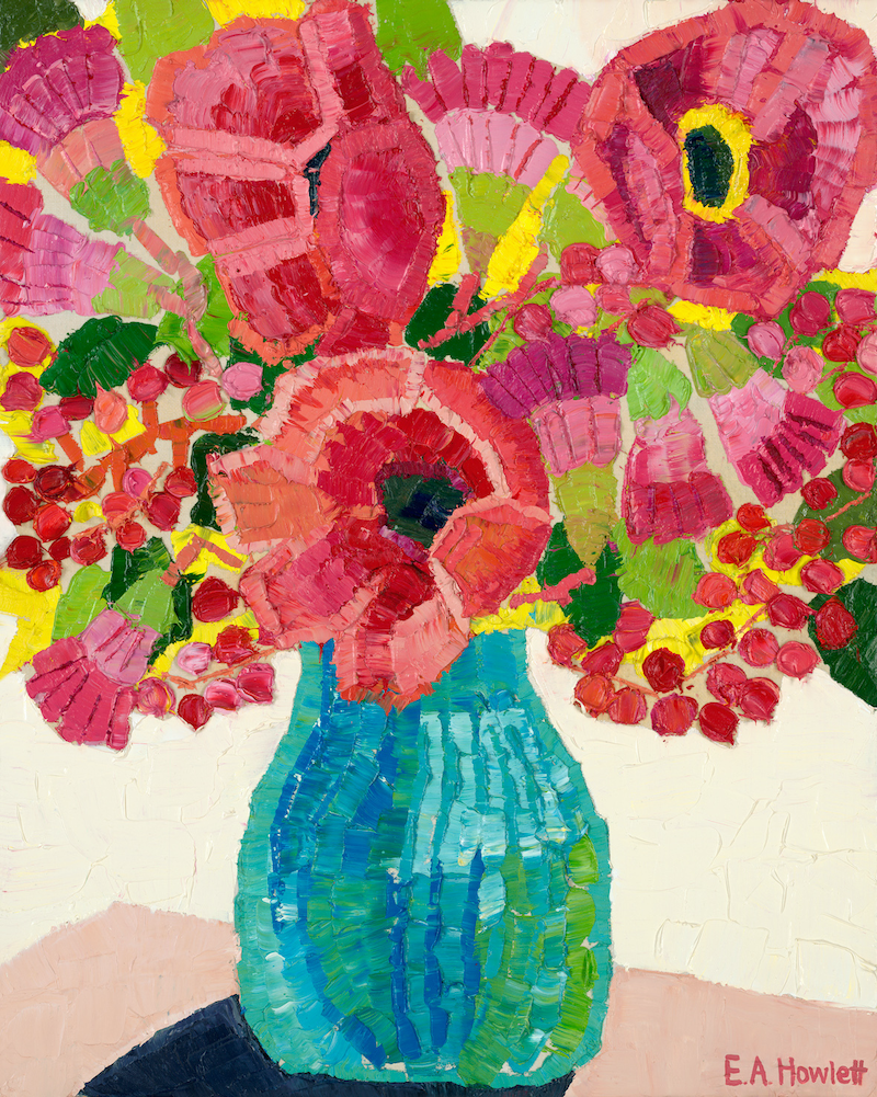 (CreativeWork) Poppies and Sweet Peas  by Elisabeth Howlett. oil-painting. Shop online at Bluethumb.