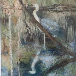 (CreativeWork) Heron  by christine forbes. oil-painting. Shop online at Bluethumb.