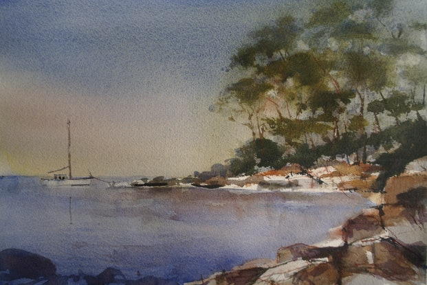 (CreativeWork) EARLY MORNING IN TASMANIA by Anki Wickison. Watercolour Paint. Shop online at Bluethumb.
