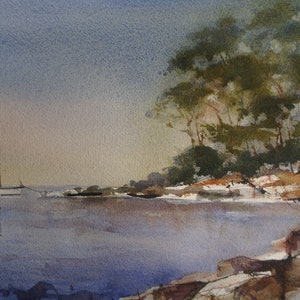(CreativeWork) EARLY MORNING IN TASMANIA by Anki Wickison. watercolour. Shop online at Bluethumb.
