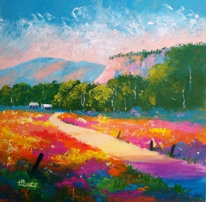 (CreativeWork) Landscape - Near the Bluff, Warwick, Queensland by Lorelle Boyce. arcylic-painting. Shop online at Bluethumb.