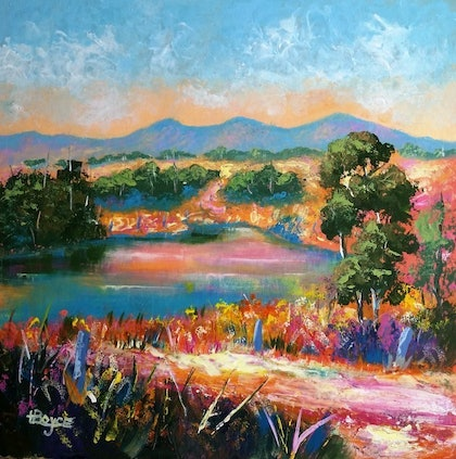 (CreativeWork) Landscape, - Near Boonah, Queensland by Lorelle Boyce. arcylic-painting. Shop online at Bluethumb.
