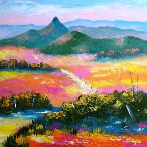 (CreativeWork) Landscape - Near Carr's Lookout, Killarney, Queensland by Lorelle Boyce. arcylic-painting. Shop online at Bluethumb.