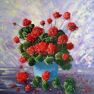 (CreativeWork) Red Geraniums -My Garden by Lorelle Boyce. arcylic-painting. Shop online at Bluethumb.