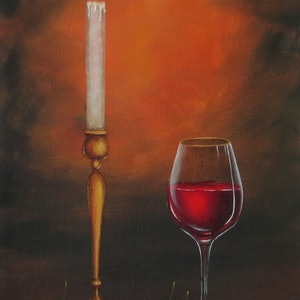 (CreativeWork) Still life with glass of wine and candle by Evelina Pastilati. oil-painting. Shop online at Bluethumb.