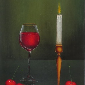 (CreativeWork) Still life with orange by Evelina Pastilati. oil-painting. Shop online at Bluethumb.