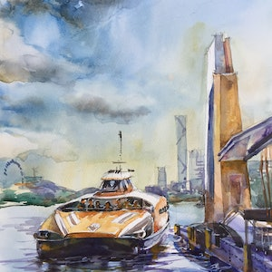 (CreativeWork) Brisbane City Cat - River Bus  by Phuong Ly. watercolour. Shop online at Bluethumb.
