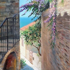 (CreativeWork) Streets of Dubrovnik by Sergei Londar. oil-painting. Shop online at Bluethumb.