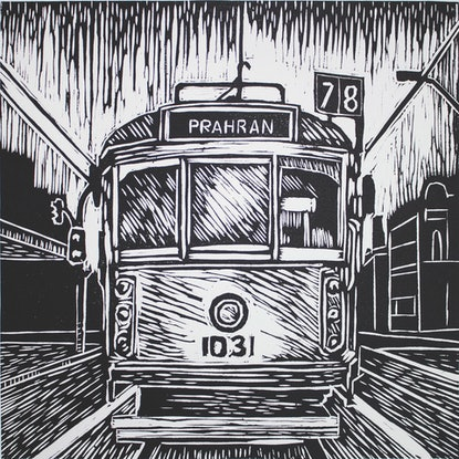 (CreativeWork) Melbourne Tram linocut Ed. 14 of 30 by Matthew Broughton. Reproduction Print. Shop online at Bluethumb.