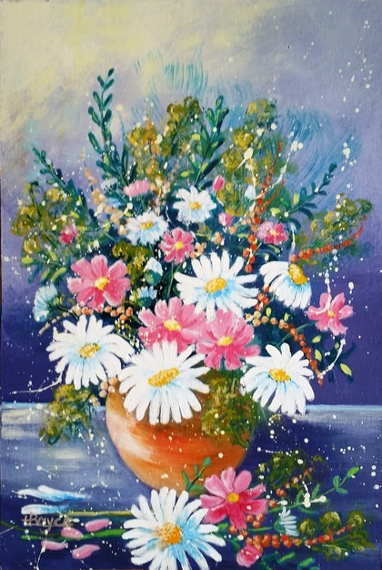(CreativeWork) Daisies & Cosmos  by Lorelle Boyce. arcylic-painting. Shop online at Bluethumb.