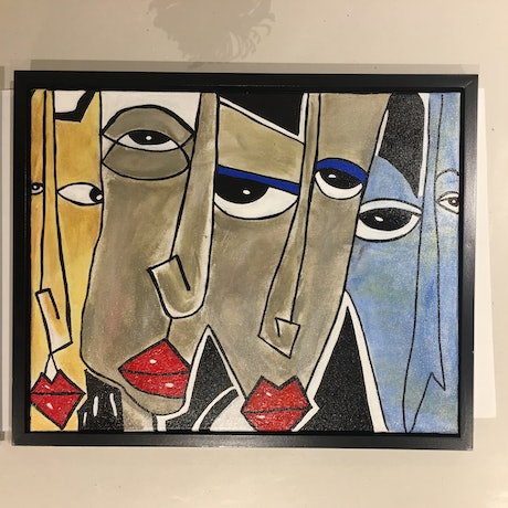 (CreativeWork) Blue Eyes Red Lips by Mandy Zielinski. Acrylic Paint. Shop online at Bluethumb.