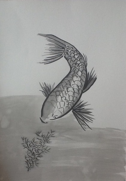 (CreativeWork) Koi, Chinese Ink Inspiration by June Orr. drawing. Shop online at Bluethumb.