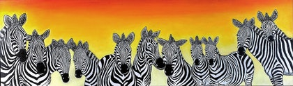 (CreativeWork) A Dazzel of Zebra's. by Rick Lowe. arcylic-painting. Shop online at Bluethumb.