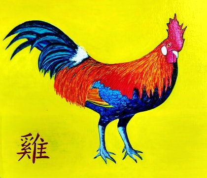 (CreativeWork) The Year of the Rooster. by Rick Lowe. arcylic-painting. Shop online at Bluethumb.
