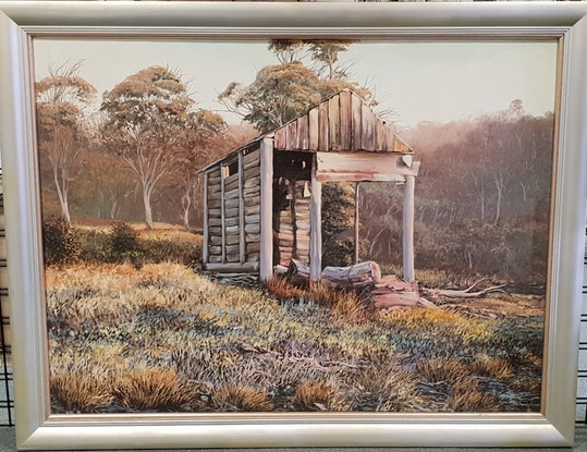(CreativeWork) TEDDYS HUT by Margaret HADFIELD. Oil Paint. Shop online at Bluethumb.