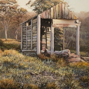 (CreativeWork) TEDDYS HUT by Margaret HADFIELD. oil-painting. Shop online at Bluethumb.