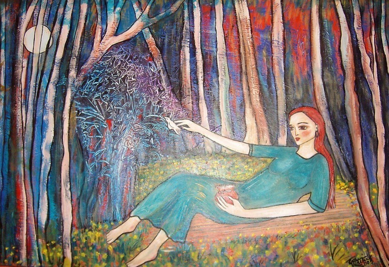"""(CreativeWork)  """"Dreamer"""" by Catherine Walker. arcylic-painting. Shop online at Bluethumb."""