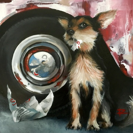 (CreativeWork) SHREDDER feat. 1962 Ford Falcon XL Deluxe by Rosa Fedele. Oil Paint. Shop online at Bluethumb.