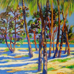 (CreativeWork) Inlet at town of 1770 Under the palms. by Virginia McGowan. oil-painting. Shop online at Bluethumb.