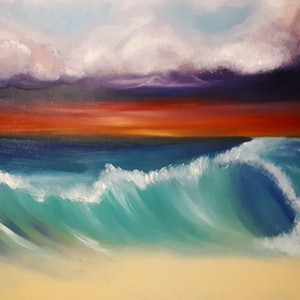 (CreativeWork) Hawaiian Sunsets by Jessica Geddes. oil-painting. Shop online at Bluethumb.