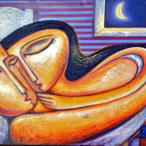 (CreativeWork) sleeping lovers by Nigel Gillings. arcylic-painting. Shop online at Bluethumb.