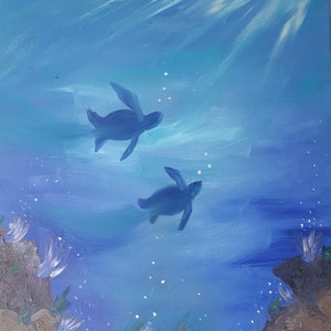 (CreativeWork) Sealife by Jessica Geddes. oil-painting. Shop online at Bluethumb.