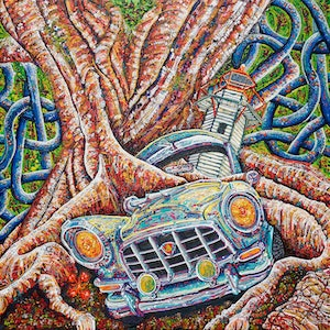 (CreativeWork) Cruisin' through Cleveland by Tina Dinte. arcylic-painting. Shop online at Bluethumb.