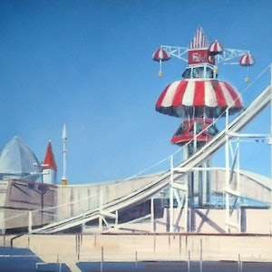 (CreativeWork) Just for fun, Luna Park. by Vivi Palegeorge. oil-painting. Shop online at Bluethumb.