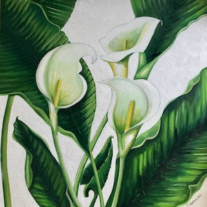 (CreativeWork) Exuberant Arum by Tracey Knowland. oil-painting. Shop online at Bluethumb.