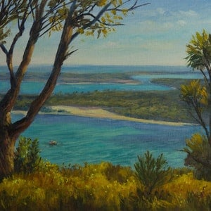(CreativeWork) A view on Lakes Entrance, Gippsland, Victoria - Oil on Canvas by Christopher Vidal. oil-painting. Shop online at Bluethumb.