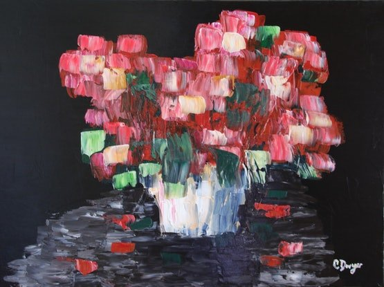 (CreativeWork) Red Dutch Bouquet by Chrissy Dwyer. Acrylic Paint. Shop online at Bluethumb.