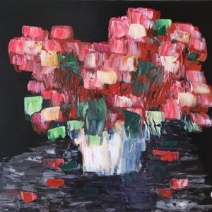 (CreativeWork) Red Dutch Bouquet by Chrissy Dwyer. arcylic-painting. Shop online at Bluethumb.