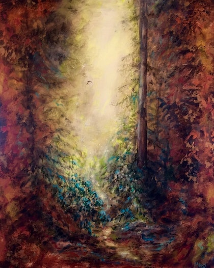 (CreativeWork) Mystical Forest by Cathy Yarwood - Mahy. arcylic-painting. Shop online at Bluethumb.